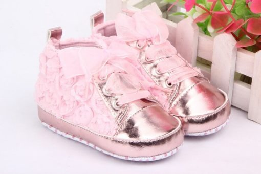 Rose Flower Soft Sole Baby Shoes pair