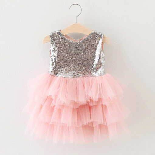 children sequined mesh dress front