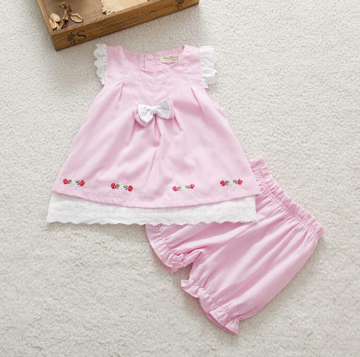 Baby Girls Bow Top Dress + Shorts Clothes Set