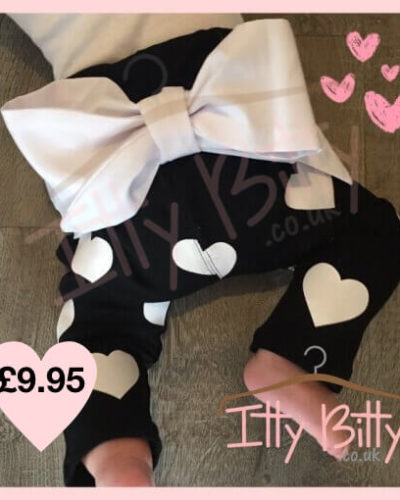 Black Big Bow Trousers For Girls