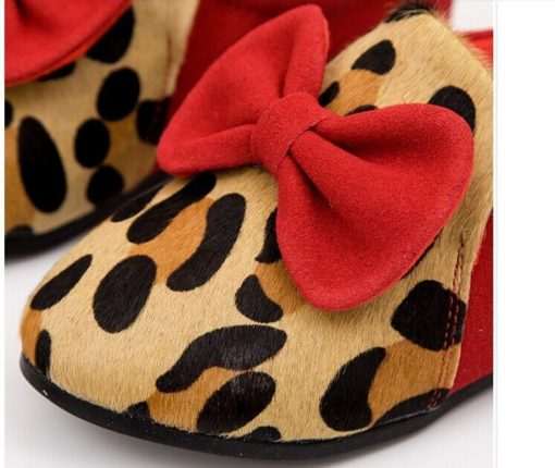 Girl flats leopard bow moccasins causal shoes