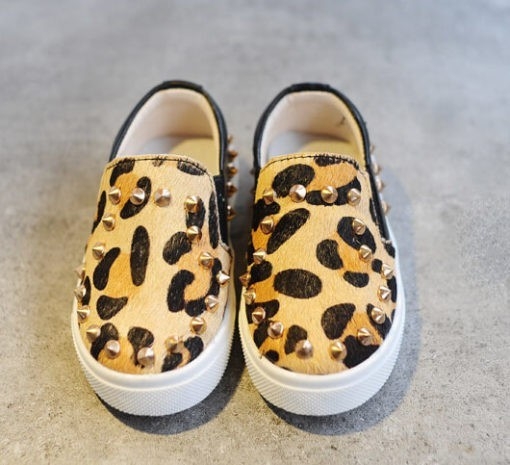 leopard rivet loafers