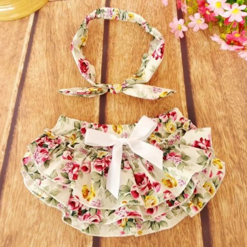 Floral Ruffled Baby Bloomers and Headband Outfit Set