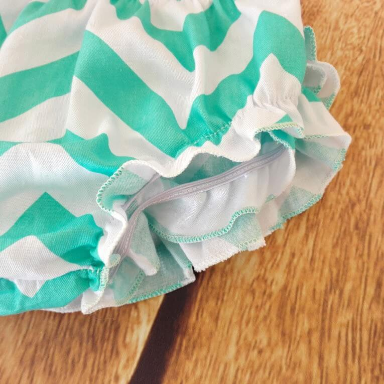 Mint Amp White Ruffled Baby Bloomers And Headband Outfit Set