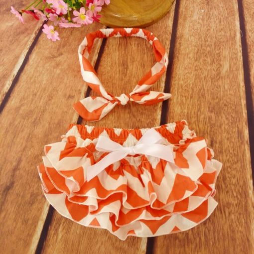 Orange Ruffled Baby Bloomers and Headband Outfit Set