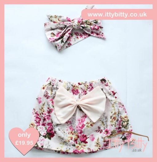 Itty Bitty 3 Piece Soft Pink Floral Set - Skirt & Headband