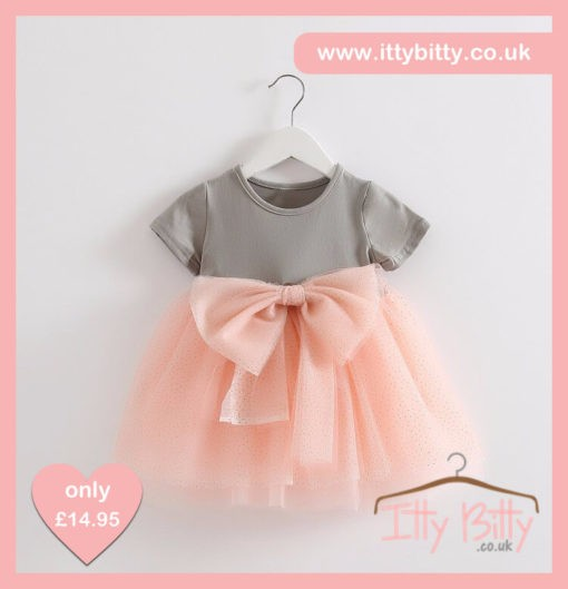 Itty Bitty Short Sleeve Grey & Pink Bow Dress