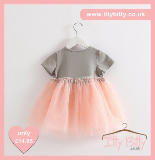 Itty Bitty Short Sleeve Grey & Pink Bow Dress Back