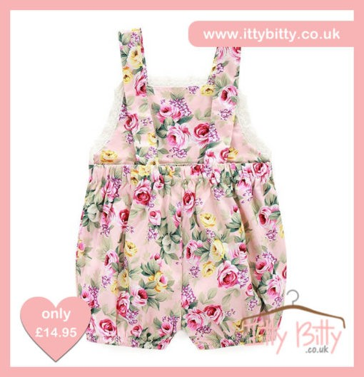 Itty Bitty Summer Floral Dungarees Back