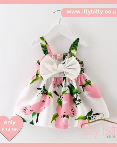 Itty Bitty Summer Pink Lemon Bow Dress