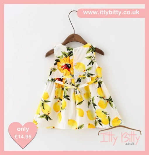 Itty Bitty White & Lemon Bow Dress
