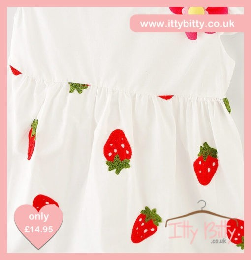 Itty Bitty White Summer Strawberry Dress