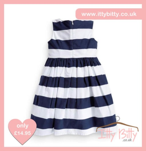 Itty Bitty Blue & White Seaside Bow Dress