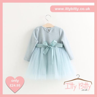 Itty Bitty Autumn Blue Bow Flower Jumper