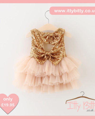 Itty Bitty Christmas Gold Sparkle & Pink Dress