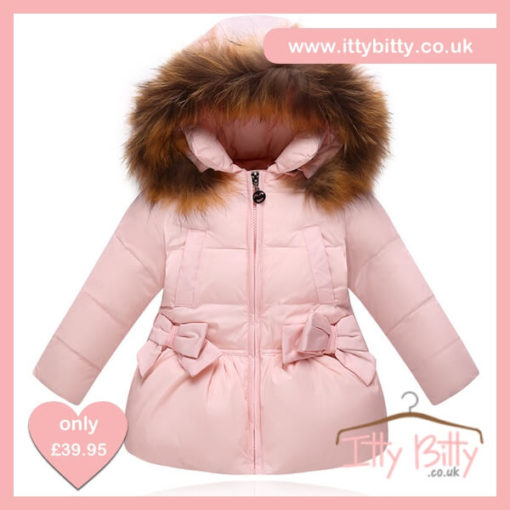 Itty Bitty VIP Pink Christmas Bow Coat
