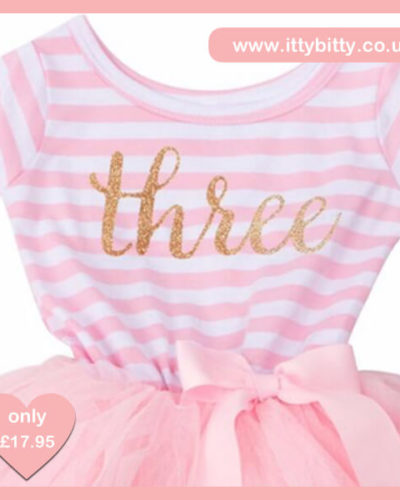 Itty Bitty Pink & White Third Birthday Tutu Dress