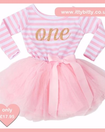 Itty Bitty Pink & White first Birthday Tutu Dress