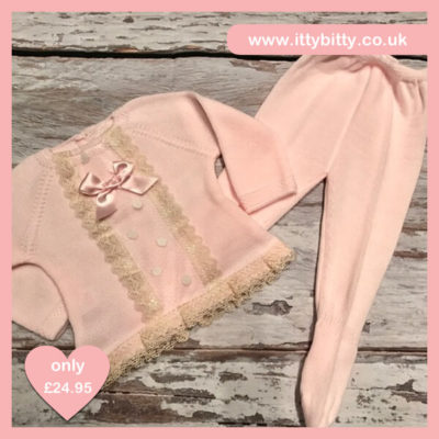 Itty Bitty Spanish Pink/Cream Spot Trim 2 Piece Legging Suit