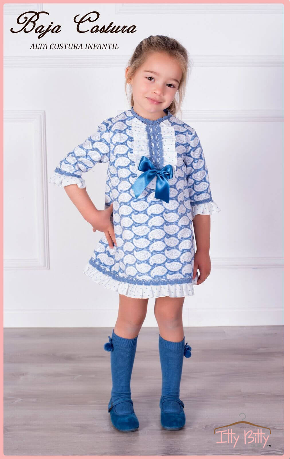 Itty Bitty Premium Spanish Boutique Blue Bow Dress Baby