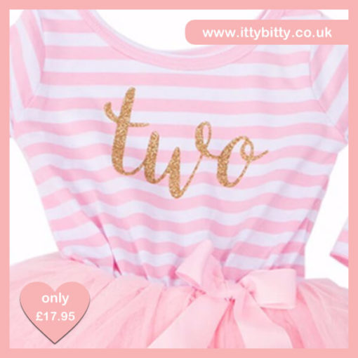 Itty Bitty Pink & White second Birthday Tutu Dress