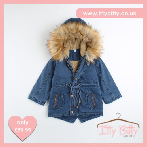 Itty Bitty Girls Denim Fur Hooded Coat