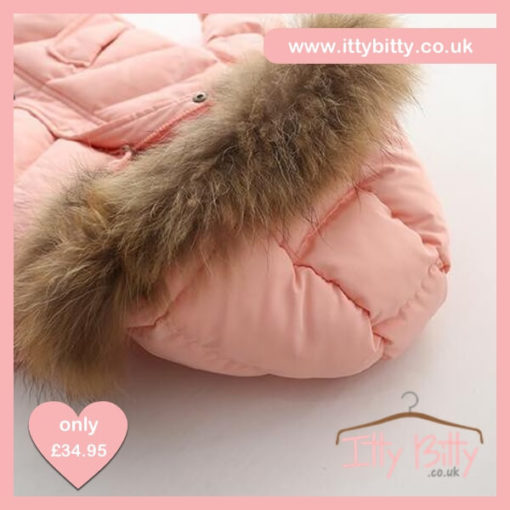 Itty Bitty Girls Pink Short Padded Fur Hooded Coat