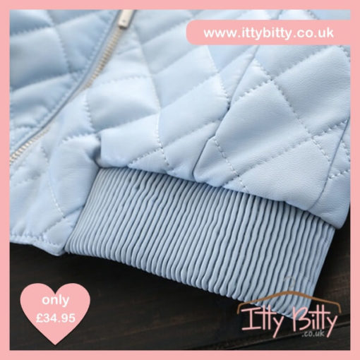 Itty Bitty Blue Leather Look Quilted Bomber Jacket