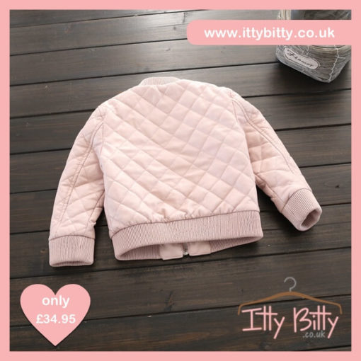 Itty Bitty Pink Leather Look Quilted Bomber Jacket