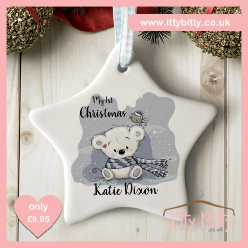 Itty Bitty Personalised My First Christmas Teddy Star Ceramic Decoration
