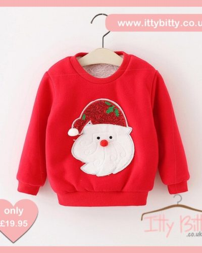 Itty Bitty Red Sparkle Santa Christmas Jumper