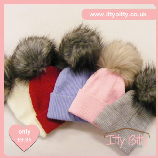 Itty Bitty Ribbed Beanie with Contrast Fluffy Pom Pom