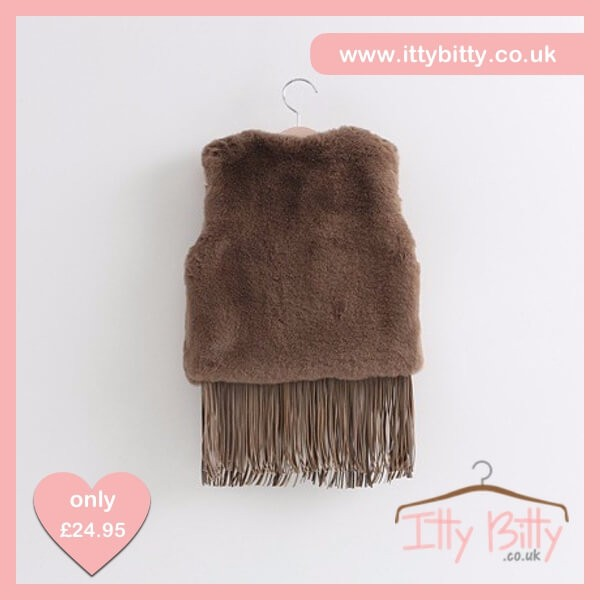 Itty Bitty Chocolate Faux Fur Tassel Gilet – Baby Boutique Clothing 331d6edcc620
