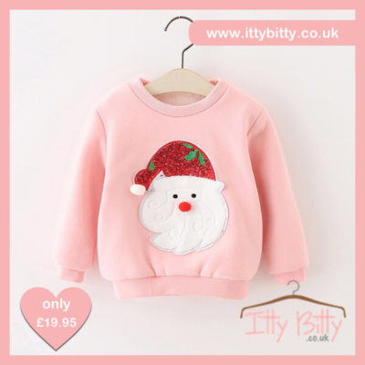 Itty Bitty Pink Sparkle Santa Christmas Jumper