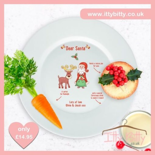 Itty Bitty Personalised Santa and Rudolph's Mince Pie Plate