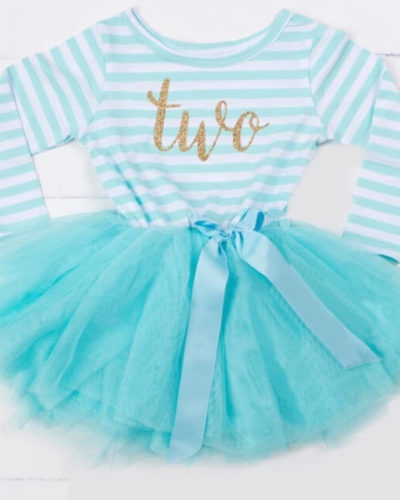 Itty Bitty Aqua & White second Birthday Tutu Dress