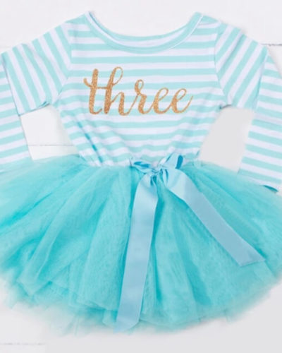 Itty Bitty Aqua & White Third Birthday Tutu Dress