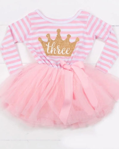 Itty Bitty Pink & White Third Birthday Princess Crown Tutu Dress