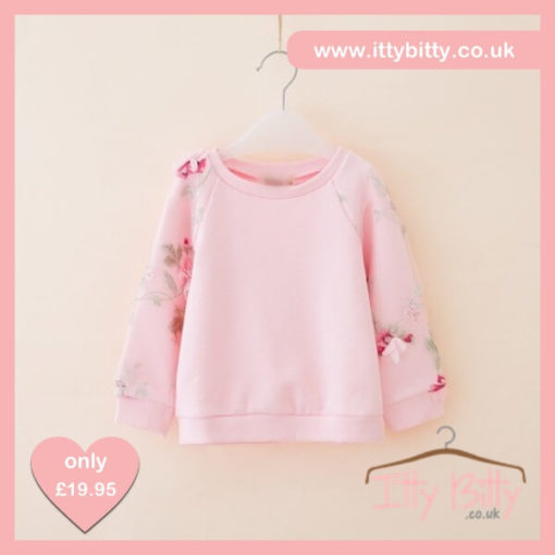Itty Bitty Pink 3D Flower Autumn Jumper