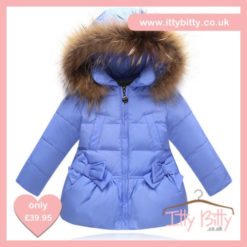 Itty Bitty VIP Blue Christmas Bow Coat
