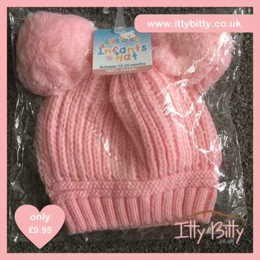 Itty Bitty Pink Double Pom Pom Beanie Hats