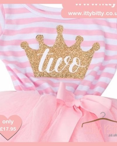 Itty Bitty Pink & White Second Birthday Princess Crown Tutu Dress