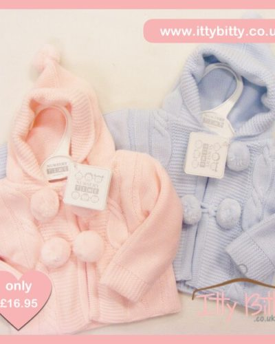 Itty Bitty Hooded Cable Pom Pom Knitted Jacket