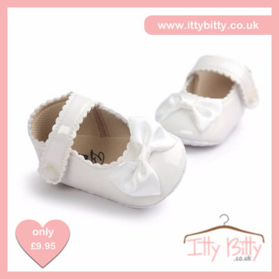 Itty Bitty White Soft Sole Baby Girl First Walkers Shoes