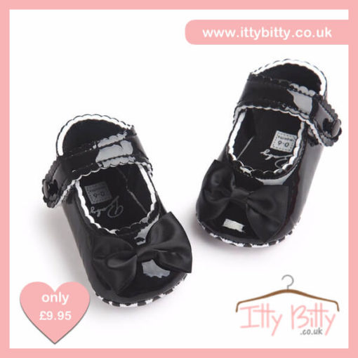 Itty Bitty Black Soft Sole Baby Girl First Walkers Shoes