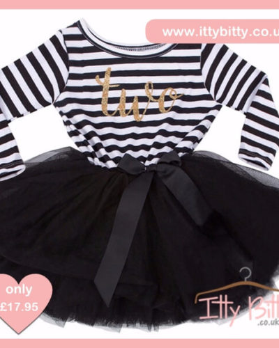 Itty Bitty Black & White second Birthday Tutu Dress