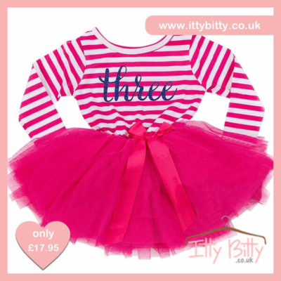 Itty Bitty Dark Pink & White Third Birthday Tutu Dress