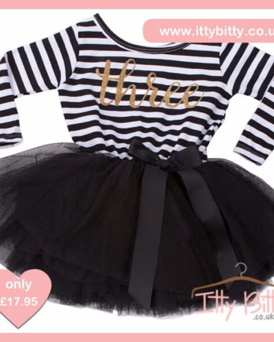 Itty Bitty Black & White Third Birthday Tutu Dress