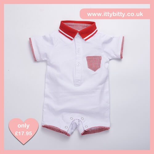 Itty Bitty Red & White Brighton Baby Grow