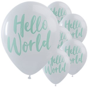 Itty Bitty Baby Shower Hello World Balloons